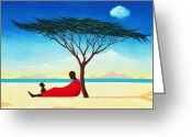 Kid Painting Greeting Cards - Turkana Afternoon Greeting Card by Tilly Willis