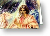 Ocean Art Greeting Cards - Turkic Woman Greeting Card by Ocean