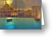 Artist Canvas Painting Greeting Cards - Turkish  Moonlight Greeting Card by Seema Sayyidah