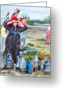 Jugs Greeting Cards - Turkish village women with water jugs Greeting Card by Pamir Thompson
