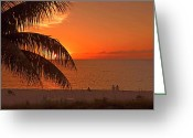 Tropical Island Greeting Cards - Turks and Caicos Sunset Greeting Card by Stephen Anderson