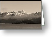 Snow Capped Photo Greeting Cards - Turnigan Arm East   Greeting Card by Ed Boudreau