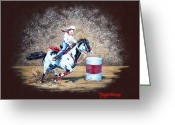 Running Horse Painting Greeting Cards - Turns on a Dime Greeting Card by Tanja Ware