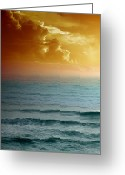 Lithograph Greeting Cards - Turquoise Amber Sunrise Greeting Card by Maria Eames