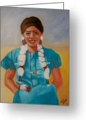 Girls Greeting Cards - Turquoise Beauty Greeting Card by Joni McPherson