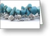 Gold Bracelet Greeting Cards - Turquoise Greeting Card by Blink Images