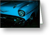Fifties Automobile Greeting Cards - Turquoise Chevy Greeting Card by DigiArt Diaries by Vicky Browning