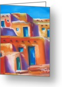 Adobe Pastels Greeting Cards - Turquoise Doors Greeting Card by Dolores Aragon
