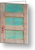 Turquoise Ink Sculpture Greeting Cards - Turquoise Doorway and Ladder to the Sky Greeting Card by Asha Carolyn Young