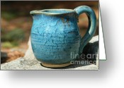 Color Ceramics Greeting Cards - Turquoise Handmade Pitcher Greeting Card by Amie Turrill Owens