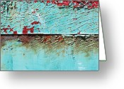 Macro Greeting Cards - Turquoise Peeling Greeting Card by Kimberly Gonzales