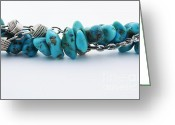 Gold Bracelet Greeting Cards - Turquoise stones and silver chain Greeting Card by Blink Images