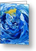 Hakon Greeting Cards - Turquoise Swirl Greeting Card by Hakon Soreide