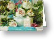 Flower Still Life Prints Painting Greeting Cards - Turquoise Tease Greeting Card by Chris  Saper