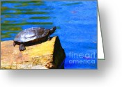 Impressionist Art Greeting Cards - Turtle Basking In The Sun Greeting Card by Wingsdomain Art and Photography