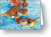 Sea Turtles Greeting Cards - Turtle Crossing Greeting Card by Maria Barry