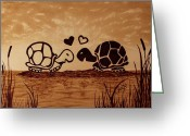 Sea Turtles Greeting Cards - Turtles Love coffee painting Greeting Card by Georgeta  Blanaru