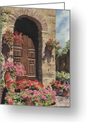 Flowers Greeting Cards - Tuscan Door Greeting Card by Sam Sidders