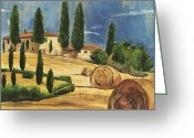 Castle Painting Greeting Cards - Tuscan Dream 2 Greeting Card by Debbie DeWitt