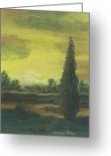 Dusk Pastels Greeting Cards - Tuscan Dusk 1 Greeting Card by Shelby Kube