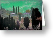 Purple House Greeting Cards - Tuscan Outlook Greeting Card by Karen Lewis