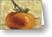 Tan Greeting Cards - Tuscan Persimmon Greeting Card by Pam Talley