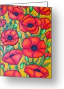 Green Field Painting Greeting Cards - Tuscan Poppies - Crop 1 Greeting Card by Lisa  Lorenz