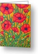 Green Field Painting Greeting Cards - Tuscan Poppies - Crop 2 Greeting Card by Lisa  Lorenz