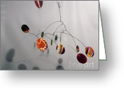 Kinetic Sculpture Greeting Cards - Tuscan Sun Zen Kinetic Mobile Watercolor Sculpture Greeting Card by Carolyn Weir