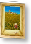 Food And Beverage Art Greeting Cards - Tuscan View Greeting Card by Pamela Allegretto