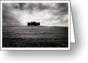Grey Clouds Greeting Cards - Tuscany - Italy - Black and White Greeting Card by Marco Hietberg