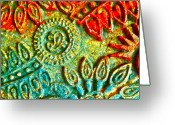 Batik Greeting Cards - Tuscany batik Greeting Card by Gwyn Newcombe