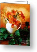 Green And White Greeting Cards - Tuscany Bouquet Greeting Card by Marsha Heiken