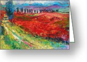 Italy Drawings Greeting Cards - Tuscany italy landscape poppy field Greeting Card by Svetlana Novikova