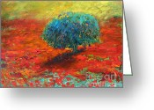 Colorful Drawings Greeting Cards - Tuscany poppy field tree landscape Greeting Card by Svetlana Novikova