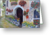 Old Street Drawings Greeting Cards - Tuscany Street Greeting Card by Loretta Luglio