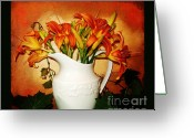 Pitcher Greeting Cards - Tuscany Tigerlilies Greeting Card by Marsha Heiken
