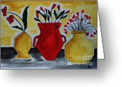 Wrap...floral Greeting Cards - Tuscany Whimsey Flower Pots Greeting Card by Marsha Heiken