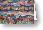 Portofino Italy Artist Greeting Cards - Tuscany With Flowers  Greeting Card by Len Yurovsky