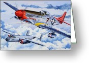 Red Drawings Greeting Cards - Tuskegee Airman Greeting Card by Charles Taylor