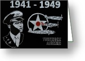 Black Glass Art Greeting Cards - Tuskegee Airmen Greeting Card by Jim Ross