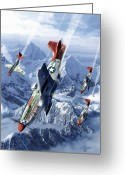 Sky Mixed Media Greeting Cards - Tuskegee Airmen  Greeting Card by Kurt Miller