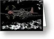 Red Tails Glass Art Greeting Cards - Tuskegee Night Flight Greeting Card by Jim Ross