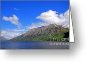 Klondike Greeting Cards - Tutshi Lake and Mountains Greeting Card by Charline Xia