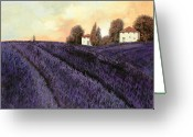 Country Painting Greeting Cards - Tutta lavanda Greeting Card by Guido Borelli