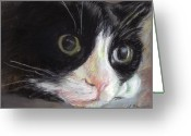 Animal Portrait Pastels Greeting Cards - Tuxedo Cat Greeting Card by Linda Bryant