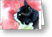 White Greeting Cards - Tuxedo Cat Profile Greeting Card by Christy  Freeman