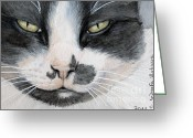 Tuxedo Mixed Media Greeting Cards - Tuxedo cat Greeting Card by Svetlana Ledneva-Schukina