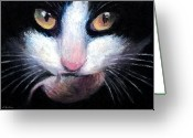 Tuxedo Greeting Cards - Tuxedo cat with mouse Greeting Card by Svetlana Novikova
