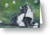 Tuxedo Greeting Cards - Tuxedo Kitten Greeting Card by Lee Ann Shepard